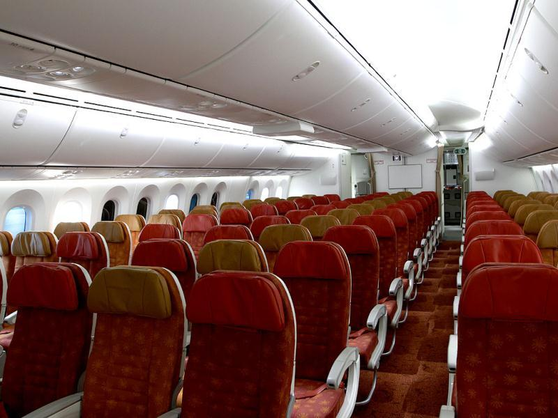 A view of the passenger cabin of a newly inducted Boeing 787 Dreamliner at Indira Gandhi International Airport's Terminal 3 in New Delhi. HT/Sanjeev Verma
