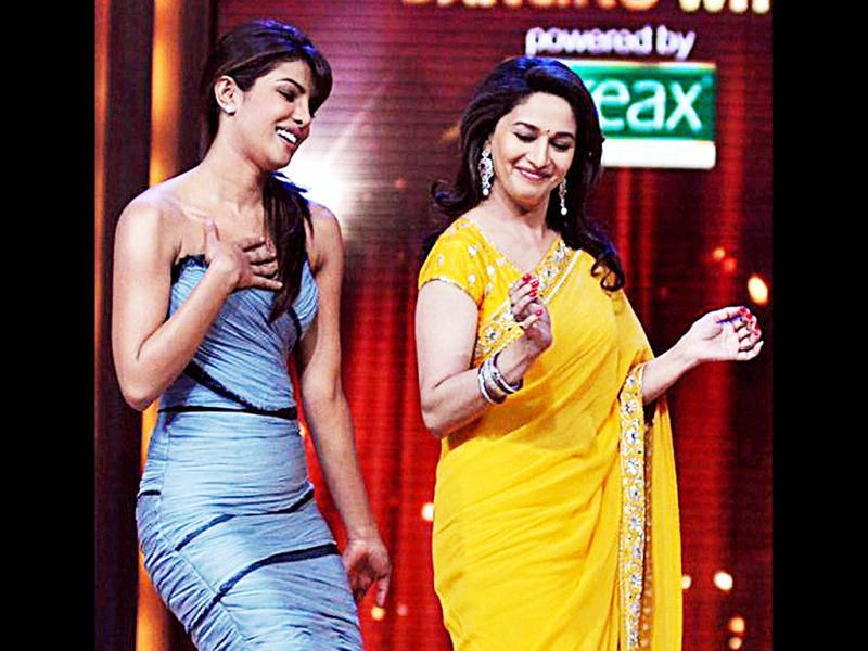 Priyanka Chopra and Madhuri Dixit dance together on Jhalak Dikhla Jaa. (Photo: PTI)