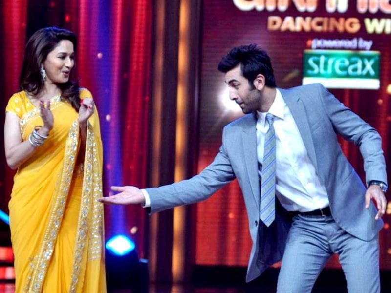 Ranbir Kapoor dances with Madhuri Dixit. (Photo: AFP)