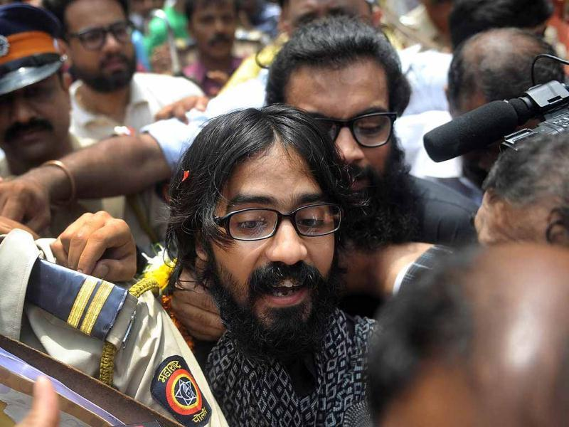 Cartoonist Aseem Trivedi comes out of the Arthur Road Jail after his release in Mumbai. AFP Photo