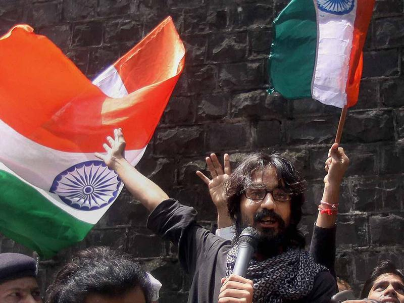 Cartoonist Aseem Trivedi speaks as he comes out of the Arthur Road Jail after his release in Mumbai. PTI Photo