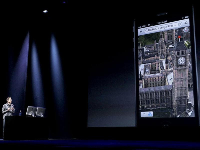 Scott Forstall, Apple's senior vice president of iOS Software, demonstrates a new mapping feature showing Big Ben in London during an introduction of the new iPhone 5 in San Francisco. AP Photo