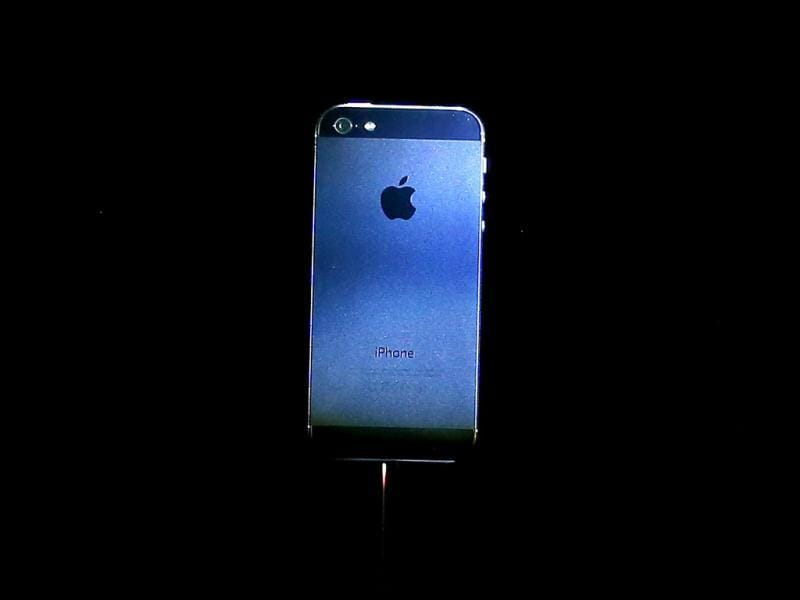 The new iPhone 5 is displayed during an Apple special event at the Yerba Buena Center for the Arts in San Francisco, California. AFP Photo