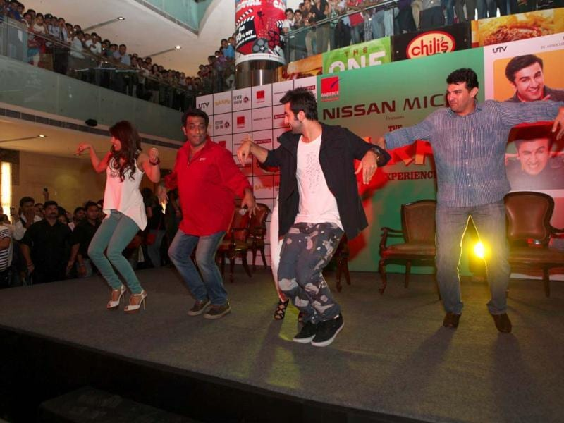 The cast and crew of Barfi! do a little jig as they play to the gallery while promoting the film.