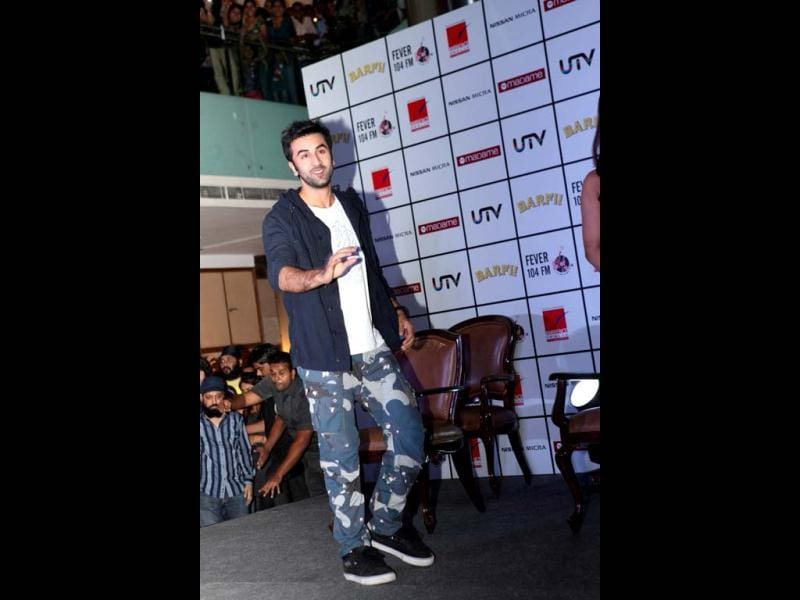 Ranbir 'Barfi!' Kapoor shakes a leg at the film's promotions in Delhi.