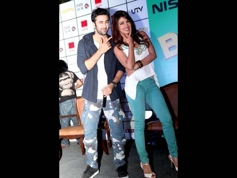 Ranbir Kapoor and Priyanka Chopra show off the versatility of their facial expressions as they promote their film Barfi! in Gurgaon. Check out more pics.