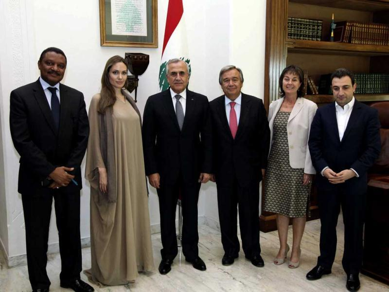 (From left to right): Lebanon's President Michel Suleiman, Angelina Jolie, U.N. High Commissioner for Refugees (UNHCR) Antonio Guterres at the presidential palace in Baabda, near Beirut. (Reuters Photo)