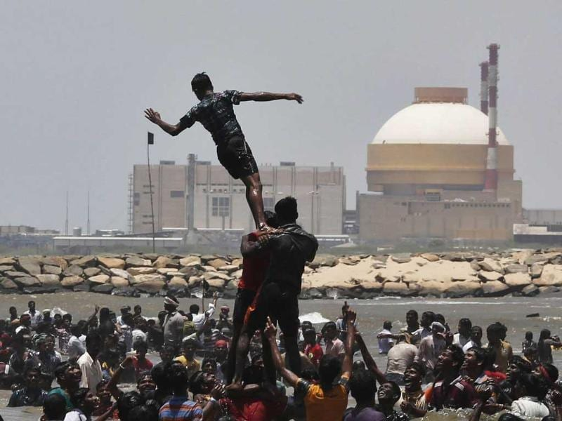 Demonstrators form a human pyramid in the waters of the Bay of Bengal as they shout slogans during a protest near the Kudankulam nuclear power project in Tamil Nadu. Reuters/UNI