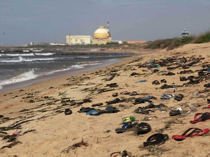 Footwear of activists and residents protesting against the Russian-built Kudankulam atomic power project lie on the shores of the Bay of Bengal at Kudankulam, Tamil Nadu. AP/Rafiq Maqbool