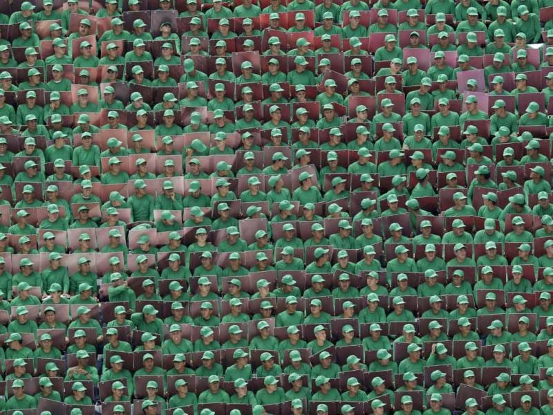 Members of the Mexican armed forces participate in a theatrical rendition of the history of Mexico at the Military Academy in Mexico City. AP Photo/Dario Lopez-Mills