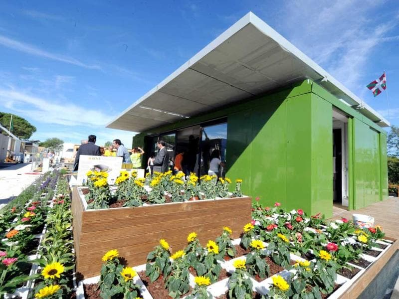 The solar house of the Spanish university of Basque country is displayed in Madrid among other solar houses built and designed by 23 college and university student teams during The Solar Decathlon Europe competition held from September 14 to 30 in Madrid. AFP PHOTO/DOMINIQUE FAGET