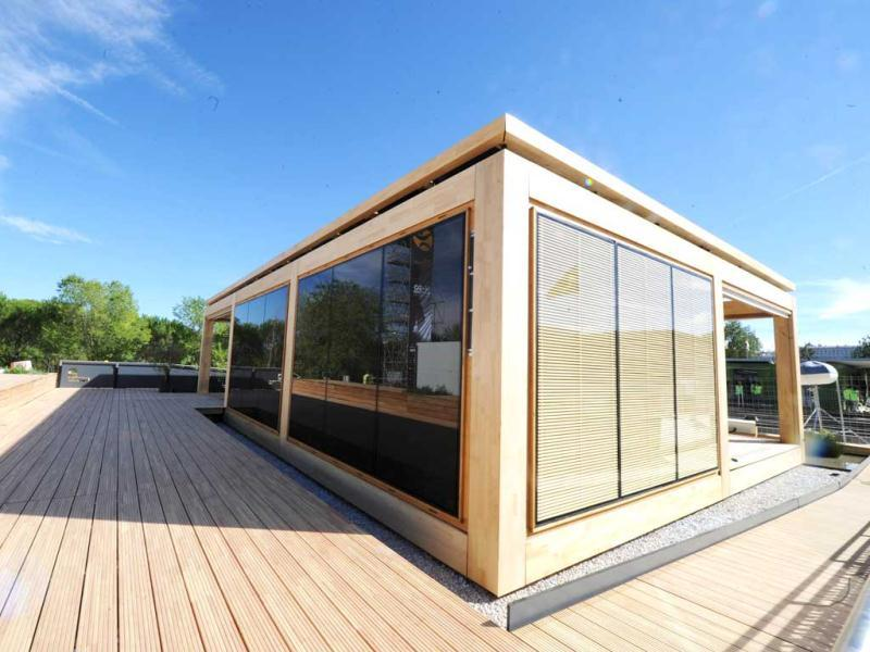 The solar house of the German university of Konstanz is displayed in Madrid among other solar houses built and designed by 23 college and university student teams during The Solar Decathlon Europe competition in Madrid. AFP PHOTO/DOMINIQUE FAGET