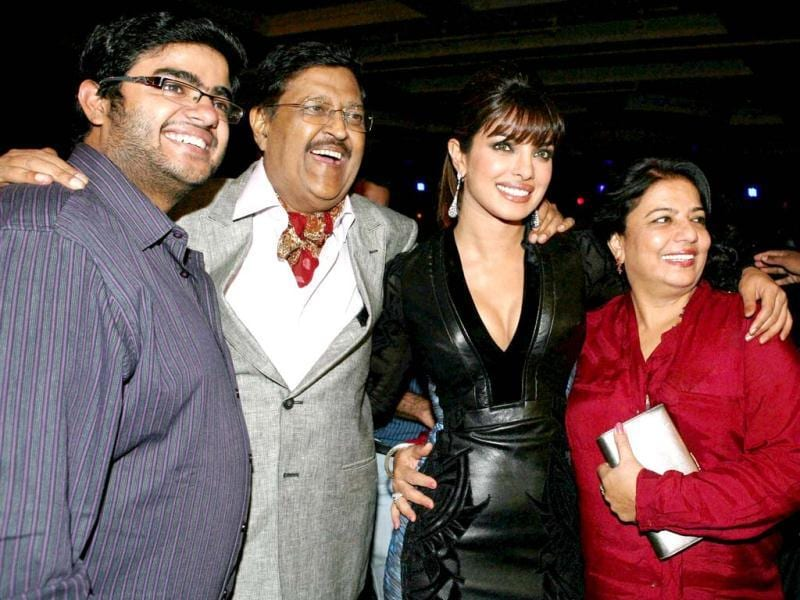 Priyanka Chopra with parents, Madhu and Ashok Chopra and brother Sidharth Chopra (L) during the launch of her song. (PTI Photo)