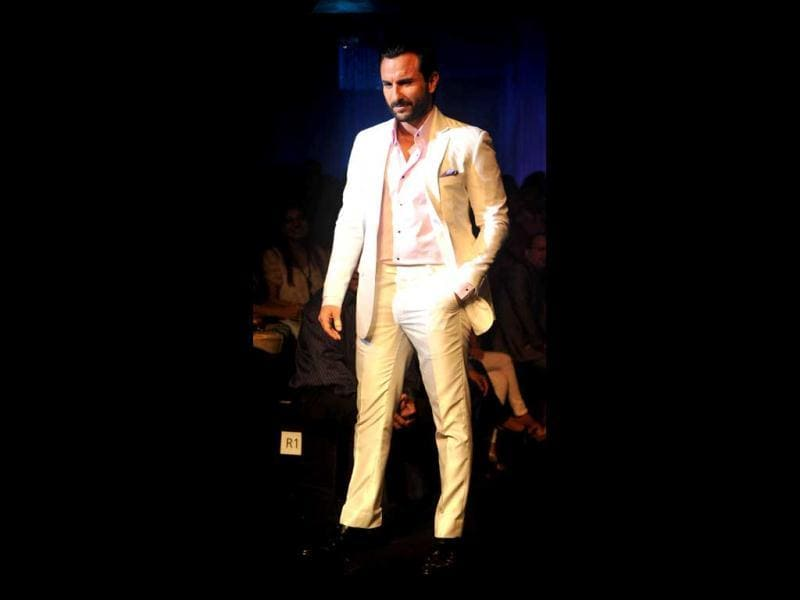 Chhote Nawab looks suave as always while walking the ramp at the Aamby Valley India Bridal Fashion Week 2012.