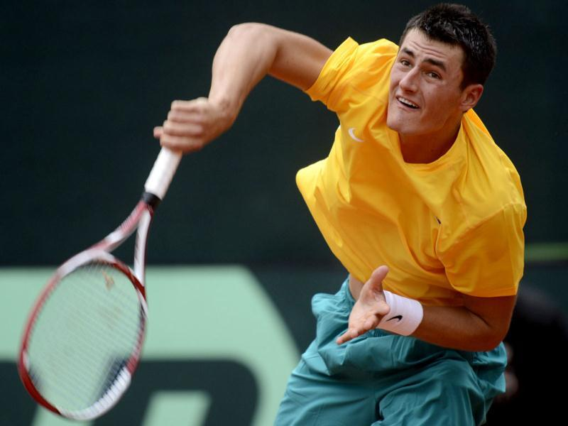 Australia's Bernard Tomic serves a ball to Germany's Cedric-Marcel Stebe (not pictured) during their Davis Cup World Group play-off tennis match in Hamburg September 14, 2012. Reuters