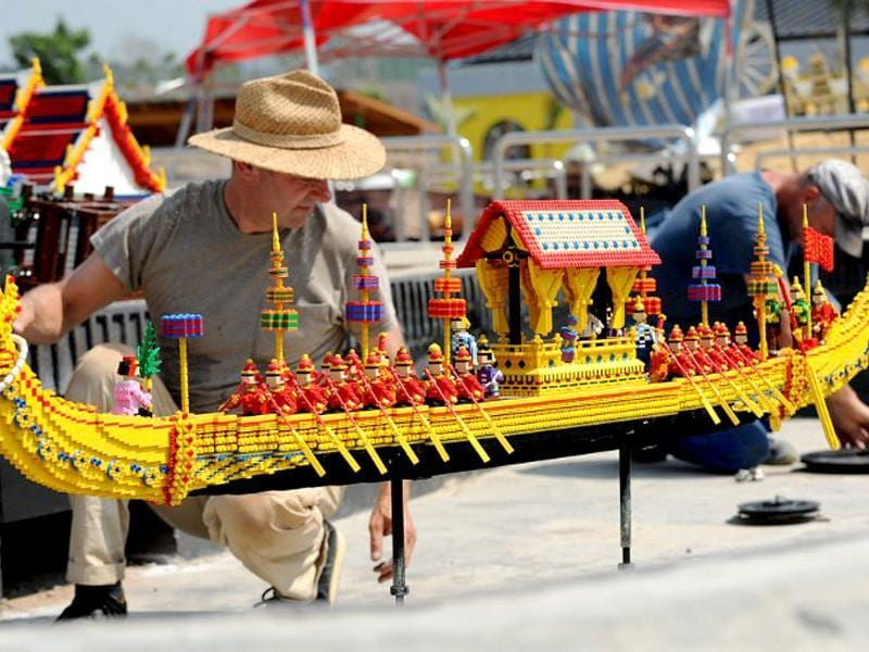 An animator constructs a boat made from lego bricks at Legoland Malaysia in Johor Bahru. AFP/Roslan Rahman