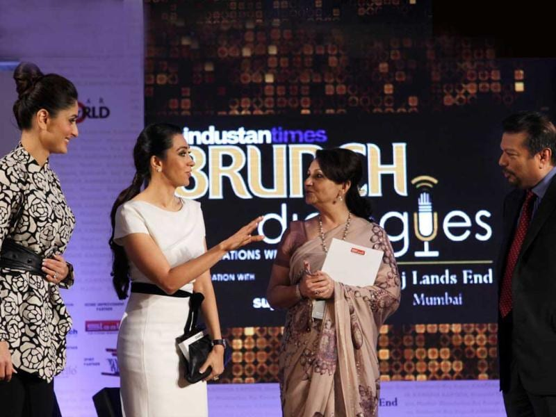 (L-R) Kareena, Karisma and Sharmila Tagore are welcomed on the panel of Brunch Dialogues