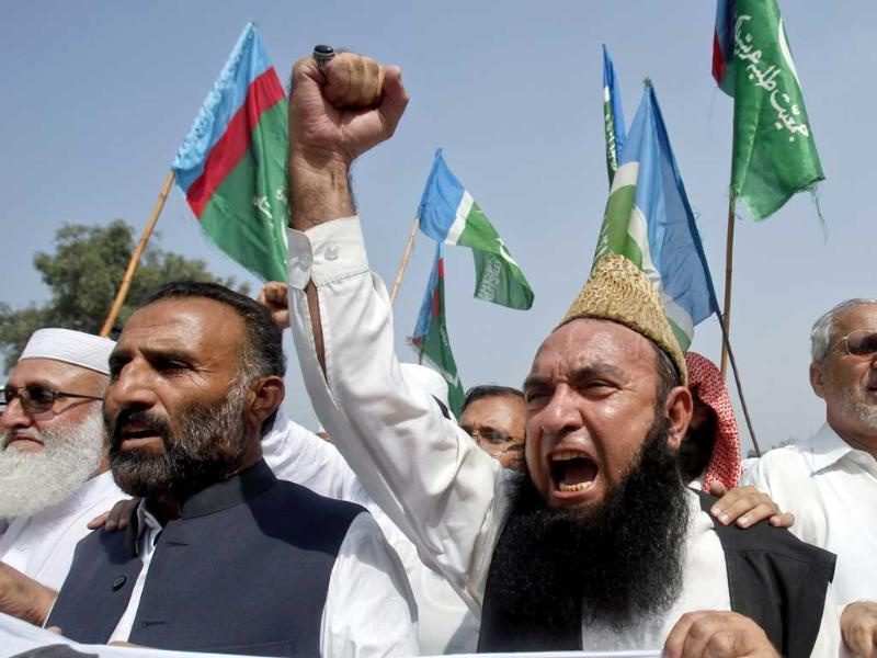 Supporters of the Pakistani religious political party Jamaat-e-Islami shout anti-American slogans during a demonstration in Peshawar. Reuters/Fayaz Aziz