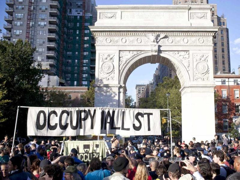 Occupy Wall Street protesters gather in Washington Square Park in New York to mark its first anniversary. Reuters photo