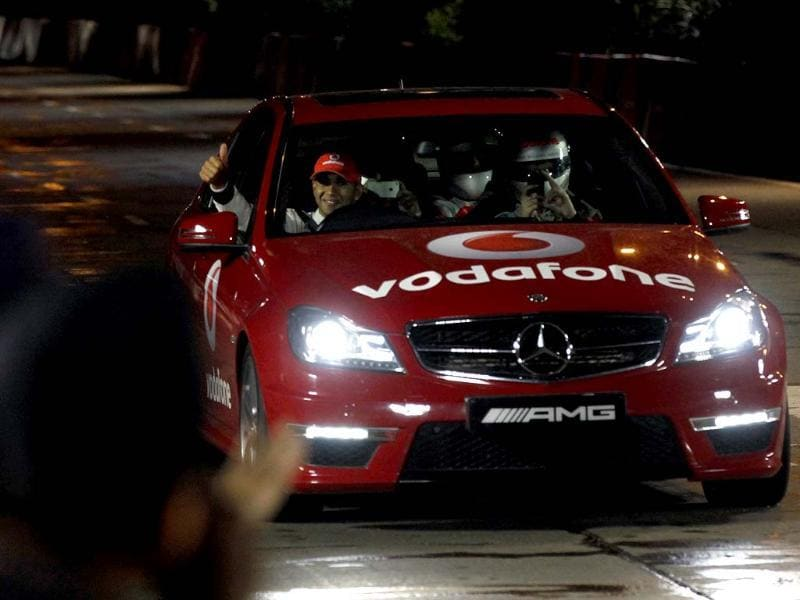 Vodafone McLarene Mercedes champion driver Lewis Hamilton does a night street racing demonstration as a part of the Vodafone speed fest. HT/ Kunal Patil