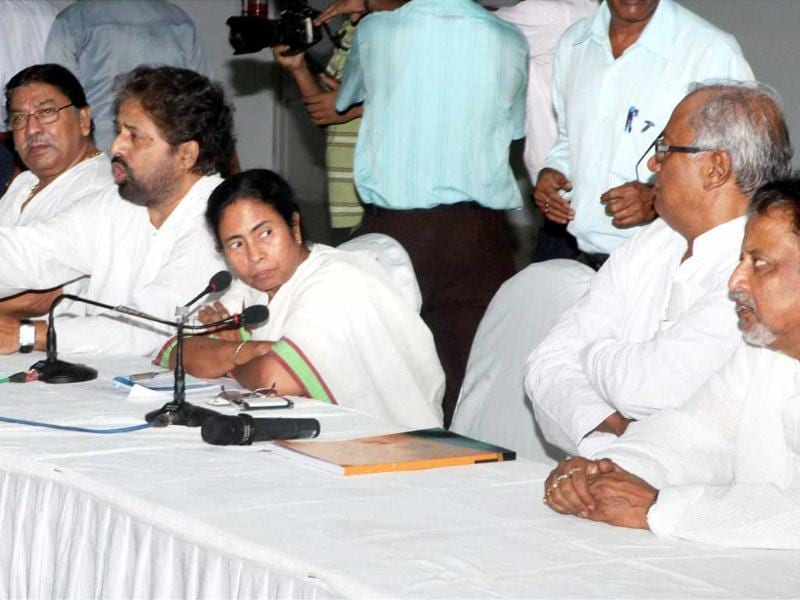 West Bengal chief minister and Trinamool Congress supremo Mamata Banerjee with prominent leaders Mukul Roy, Saugata Roy, Sudip Bandyopadhyay, Somen Mitra, Sultan Ahmad and others at a meeting of the TMC's parliamentary party in Kolkata. (PTI Photo by Swapan Mahapatra)