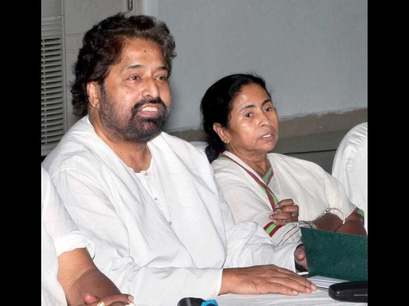 West Bengal chief minister and Trinamool Congress supremo Mamata Banerjee with minister of state Sudip Bandyopadhyay at a meeting of the TMC's parliamentary party in Kolkata. (PTI Photo by Swapan Mahapatra)