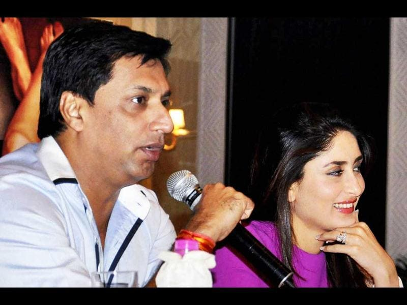 Director Madhur Bhandarkar and actress Kareena Kapoor at the promotion of their film Heroine in New Delhi on Tuesday.