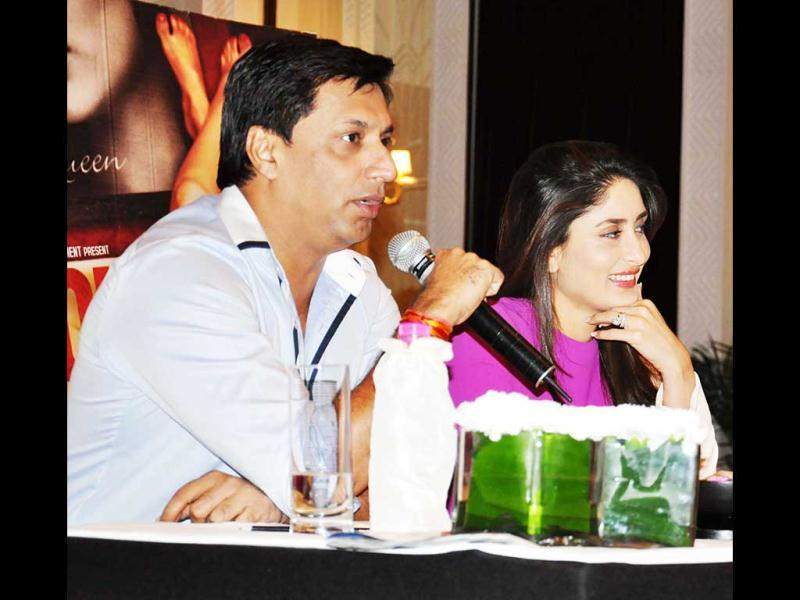 Bebo and Madhur address fans and media at the Heroine press conference.