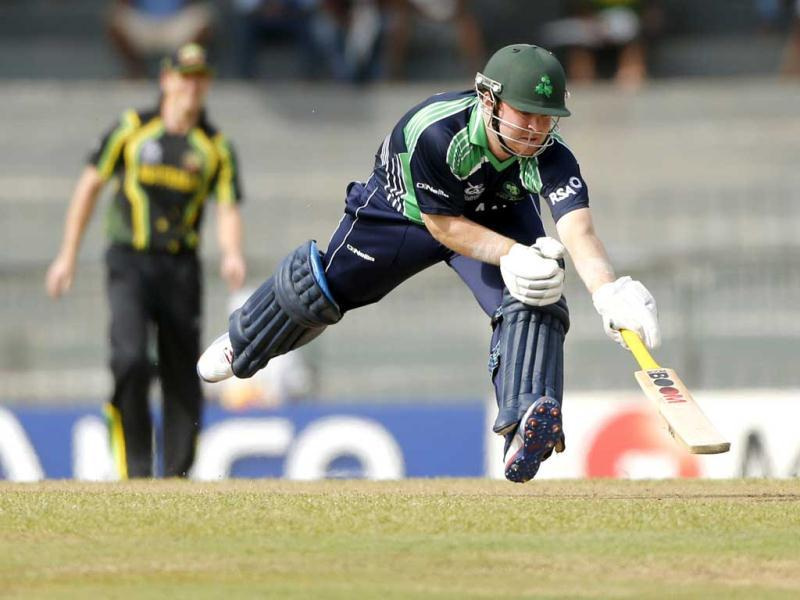 Paul Stirling completes a run during their match against Australia during their ICC Twenty20 Cricket World Cup match in Colombo. AP Photo