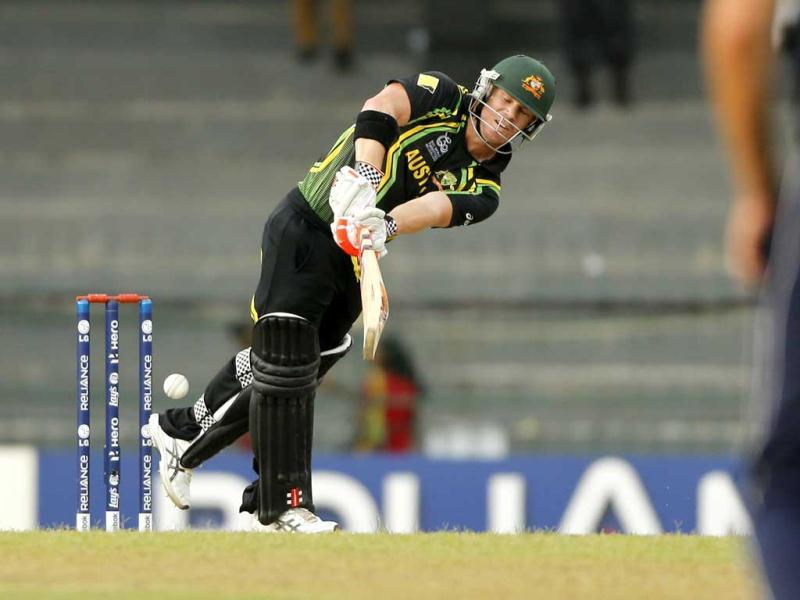 David Warner plays a shot during their ICC Twenty20 Cricket World Cup match against Ireland in Colombo. AP Photo