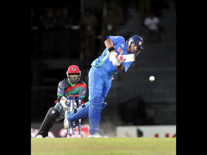 Yuvraj Singh bats during the ICC T20 World Cup cricket match between India and Afghanistan at R Premadasa Stadium in Colombo, Sri Lanka. HT/Ajay Aggarwal