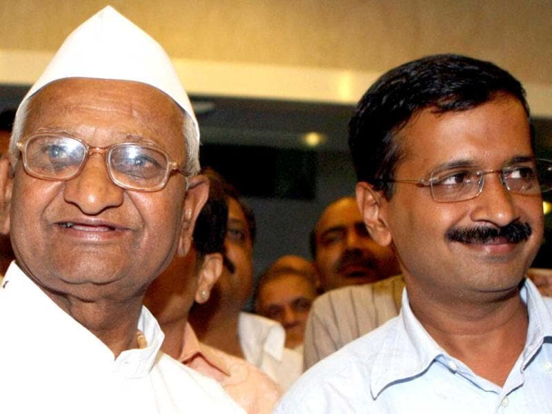 Social activist Anna Hazare and Arvind Kejriwal addressing the media after their meeting in New Delhi. PTI Photo