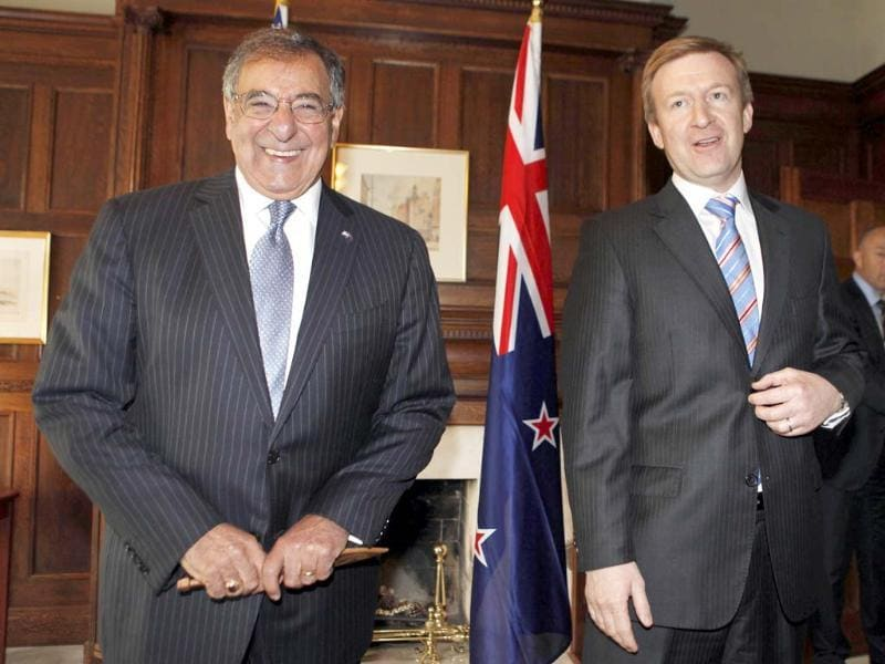 US defense secretary Leon Panetta smiles next to New Zealand's defense minister Jonathan Coleman at the Government House in Auckland. AP/Larry Downing, Pool