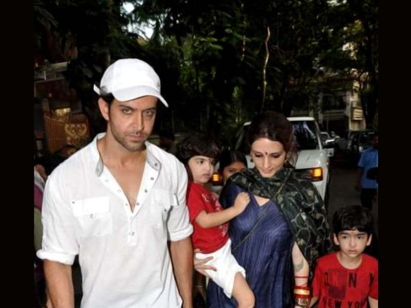 Hrithik Roshan along with wife Suzanne Roshan and kids during the celebrations.