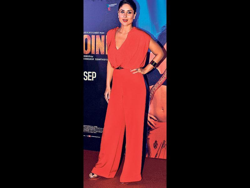 Kareena Kapoor also looked smouldering hot in a red Emanuel Ungaro jumpsuit as she launched the first look of Heroine in Mumbai in July.