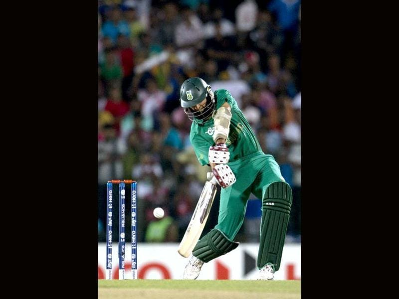 Hashim Amla bats during an ICC Twenty20 Cricket World Cup match against South Africa in Hambantota, Sri Lanka. Agencies