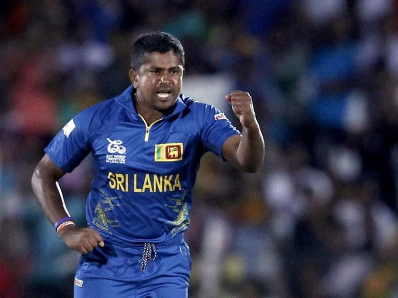 Rangana Herath celebrates after taking the wicket of Hashim Amla during their Twenty20 World Cup cricket match in Hambantota. Reuters Photo