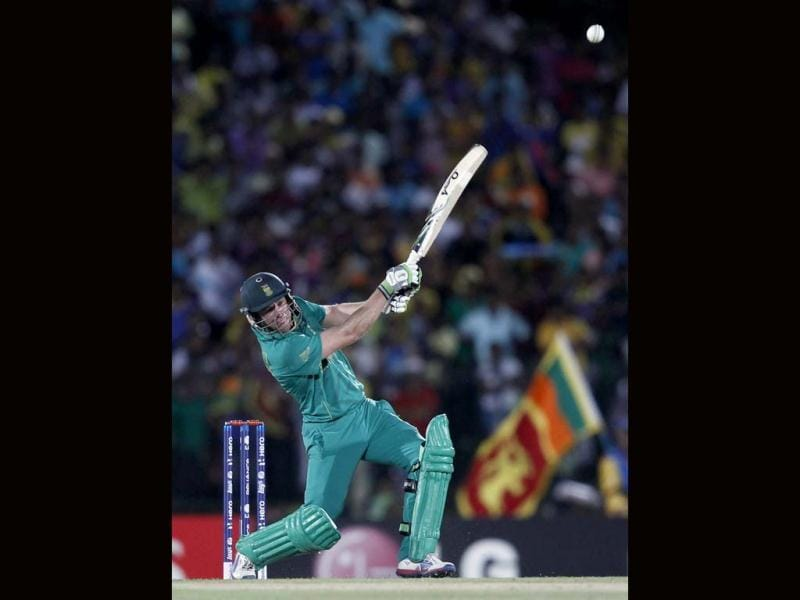 AB de Villiers plays a shot against Sri Lanka during their Twenty20 World Cup cricket match in Hambantota. Reuters Photo