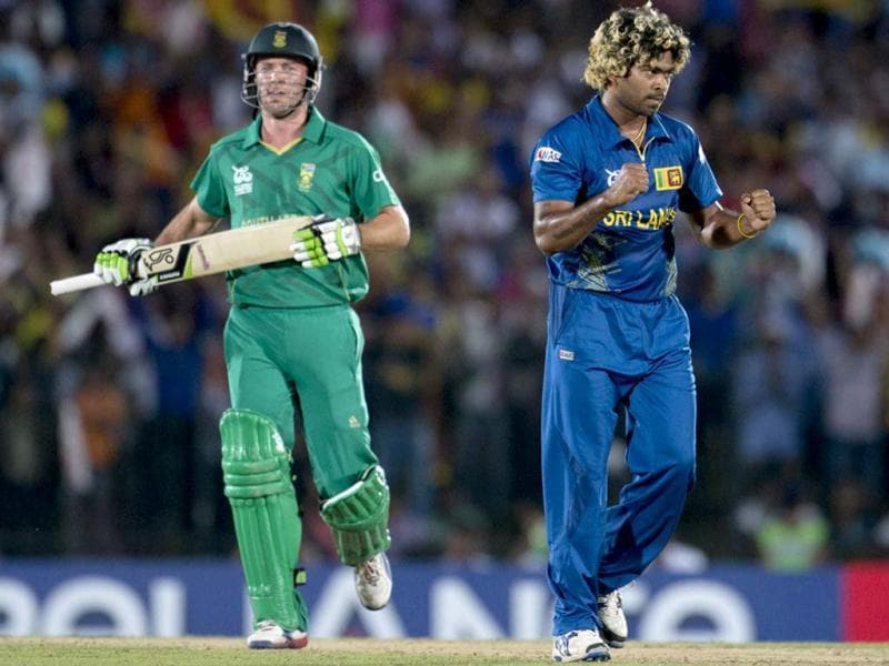 Sri Lanka's Lasith Malinga celebrates the dismissal of AB de Villiers during their ICC Twenty20 Cricket World Cup match in Hambantota. AP Photo