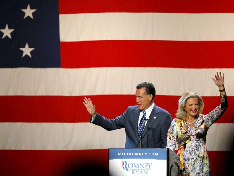 Republican presidential candidate and former Massachusetts Governor Mitt Romney is joined by his wife Ann at a campaign fundraiser in Beverly Hills, California. Reuters/Brian Snyder