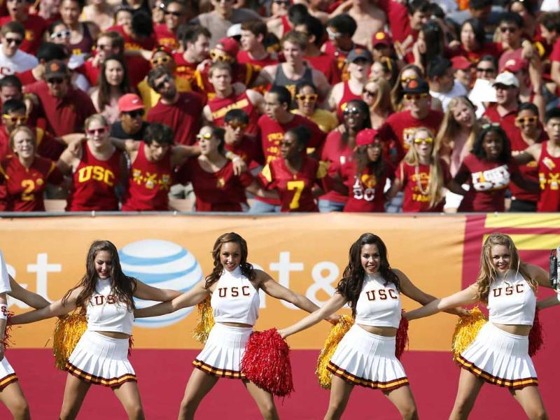 USC cheerleaders cheer for their team against California during the first quarter of their NCAA football game in Los Angeles. Reuters/Lucy Nicholson