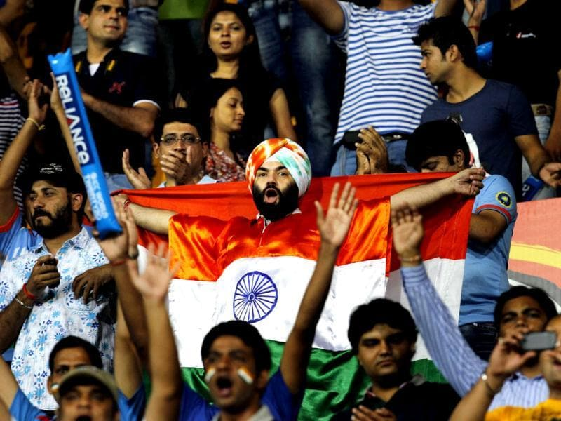 India's fans during the ICC T20 World Cup cricket match between India and England at R Premadasa Stadium in Colombo, Sri Lanka. Photo: Ajay Aggarwal/Hindustan Times