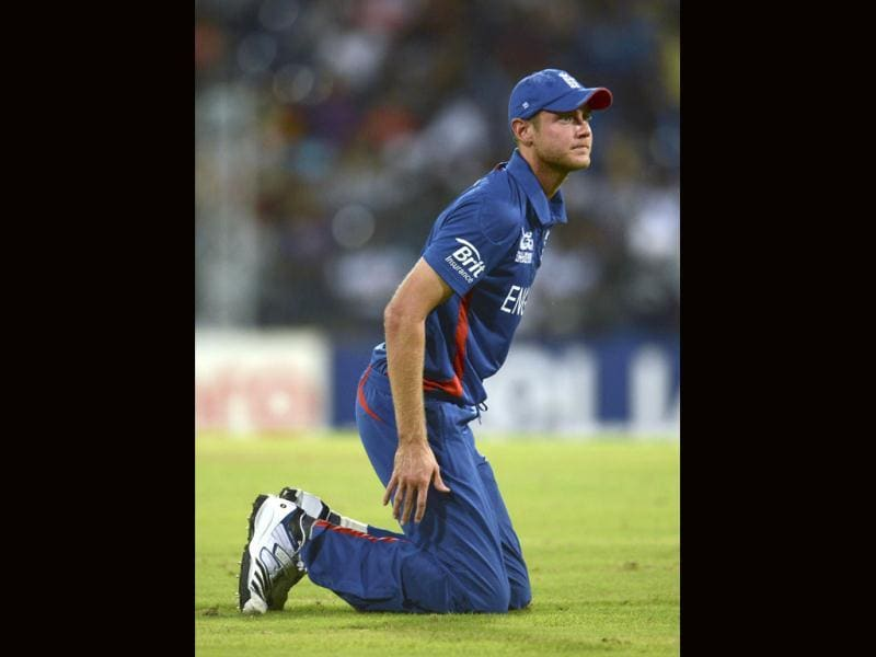 England's captain Stuart Broad kneels on the ground during their ICC World Twenty20 group A cricket match against India at the R Premadasa Stadium in Colombo. Reuters/Philip Brown