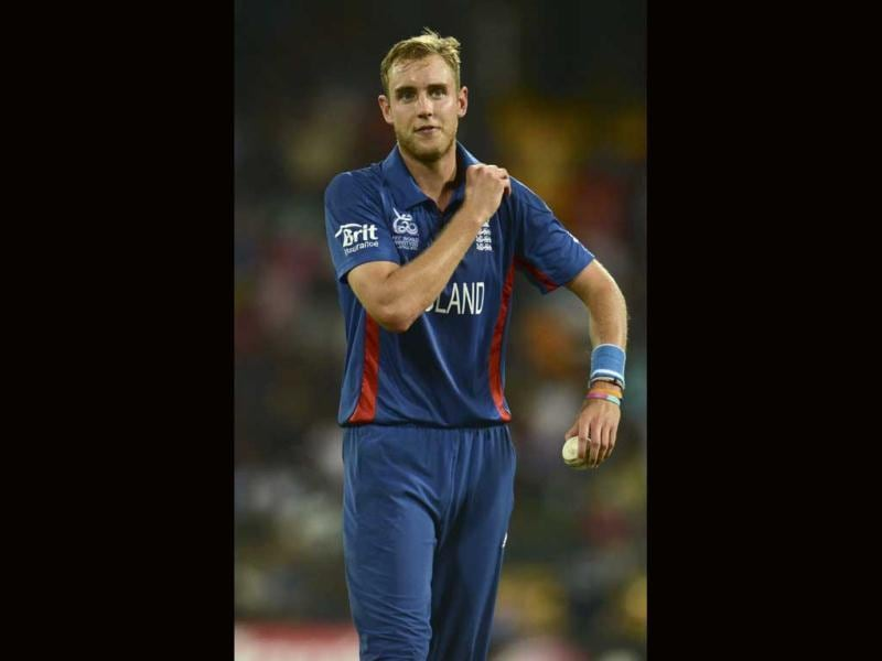 England's captain Stuart Broad looks on during their ICC World Twenty20 group A match against India at the R Premadasa Stadium in Colombo. Reuters/Philip Brown