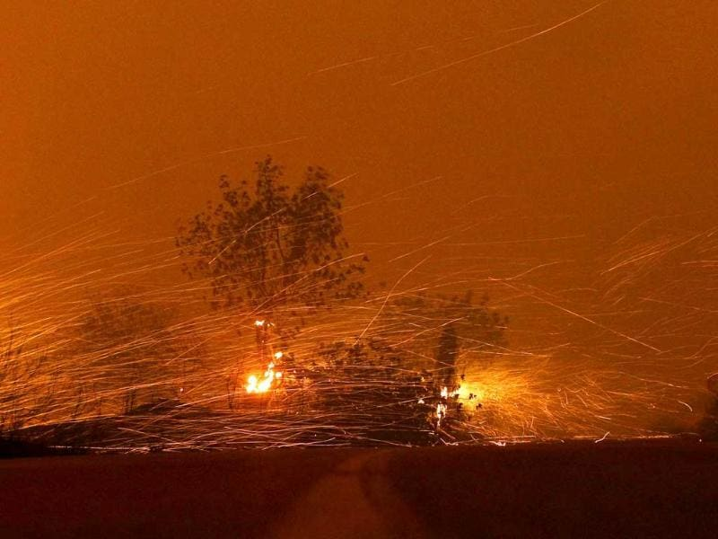 Flames spread across the access road leading to Pedralba during a wildfire in Pedralba, near Valencia, Spain. AP/Alberto Saiz