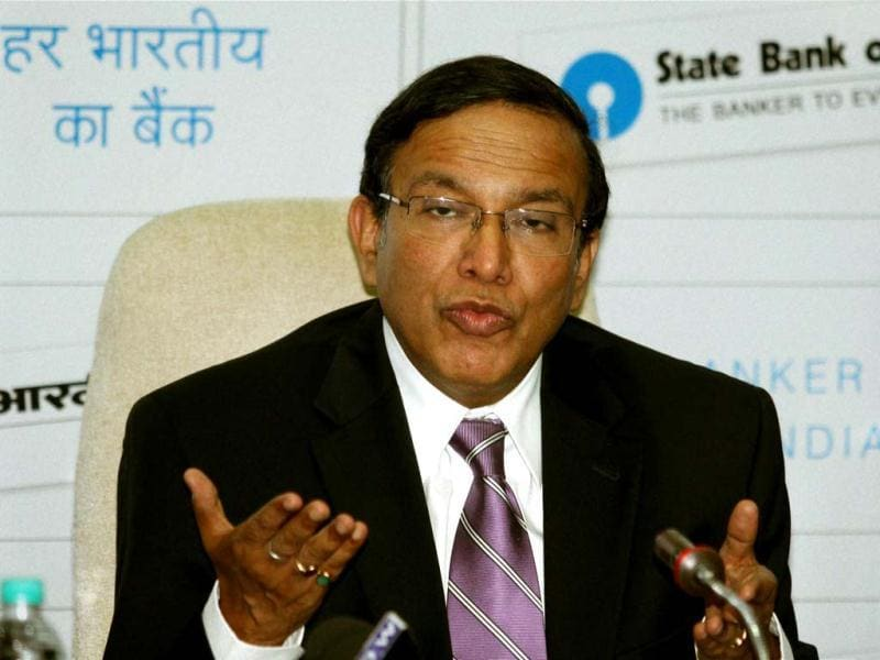 SBI chairman Pratip Chaudhuri addresses a press conference in Mumbai. PTI/Mitesh Bhuvad