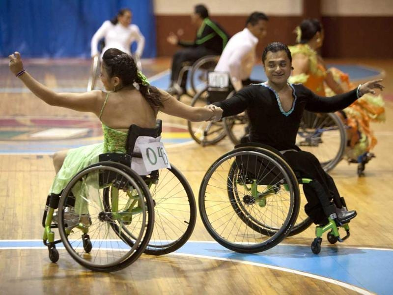 Jazmin Lopez and Miguel Osorio dance during the First Regional Dance Competition on Wheelchair Sports in Cancun. Reuters/Victor Ruiz Garcia