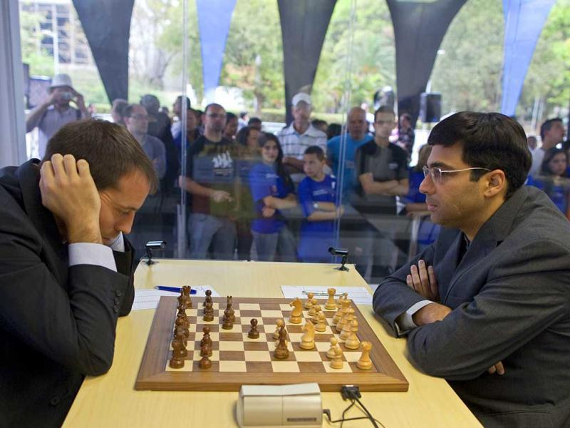 Chess players Viswanathan Anand of India, right, and Francisco Vallejo of Spain compete during the Chess Grand Slam Final Masters inside a case of glass at the Ibirapuera Park in Sao Paulo, Brazil. AP/Andre Penner