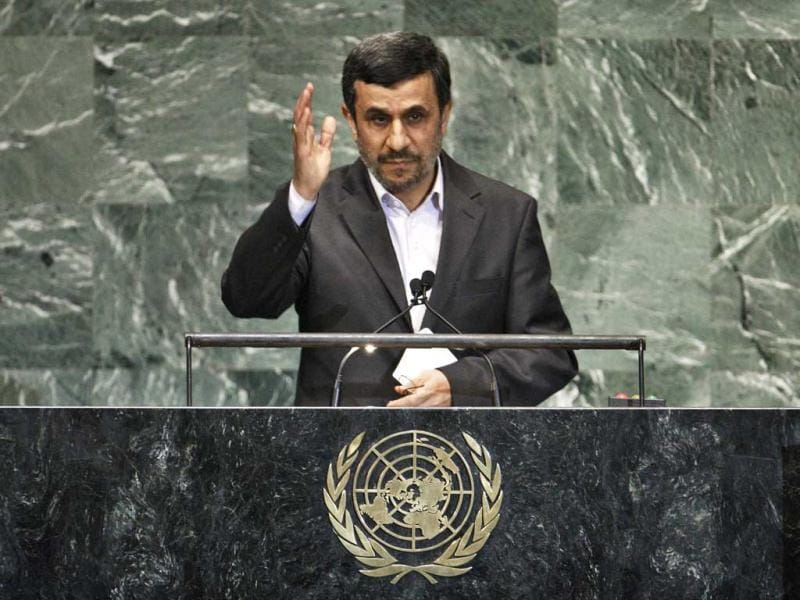 Iran's President Mahmoud Ahmadinejad addresses diplomats during the high-level meeting of the General Assembly on the Rule of Law at the United Nations headquarters in New York. Reuters/Eduardo Munoz
