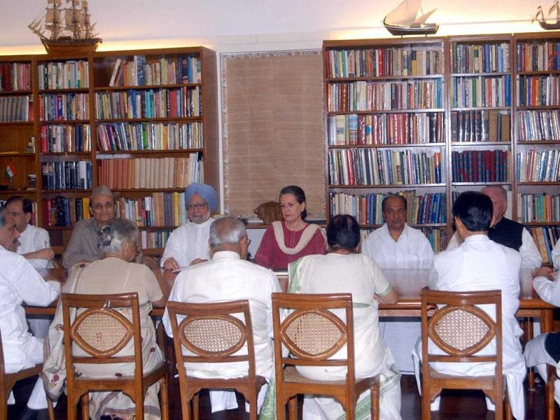 Congress President Sonia Gandhi presiding over Congress Working Committee meeting at her 10 Janpath residence in New Delhi. UNI Photo